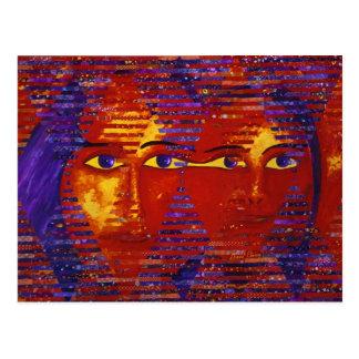 Enigma III - Diosa púrpura y anaranjada abstracta Postal