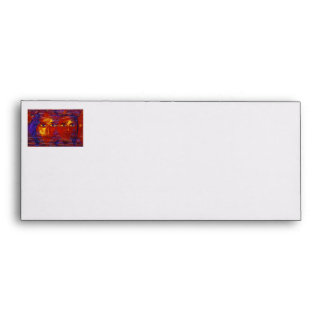 Enigma III - Diosa púrpura y anaranjada abstracta Sobre