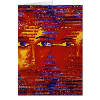 Enigma III - Diosa púrpura y anaranjada abstracta Tarjeta De Felicitación