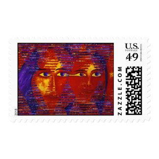 Enigma III - Diosa púrpura y anaranjada abstracta Timbres Postales