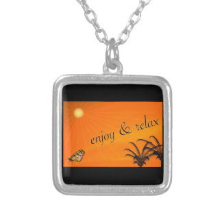 ENJOY AND RELAX TROPICAL ORANGE VACATION EXPRESSIO SQUARE PENDANT NECKLACE