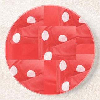 ENJOY and  share JOY -   Red n White Pattern Sandstone Coaster
