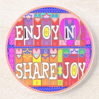 ENJOY and  share JOY Sandstone Coaster