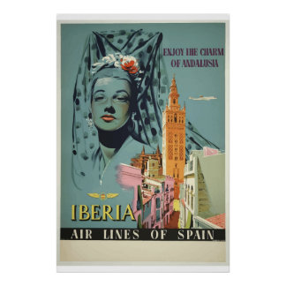Enjoy Andalusia Spain Air Line Travel Poster