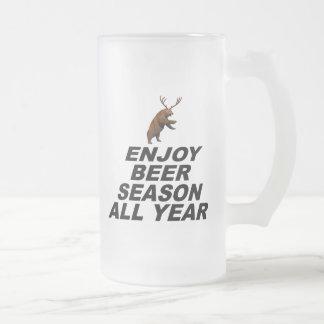 Enjoy Beer Season All Year Frosted Glass Beer Mug