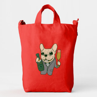 Enjoy Champagne with Frenchie at Your Celebration Duck Bag