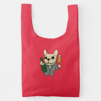 Enjoy Champagne with Frenchie at Your Celebration Reusable Bag