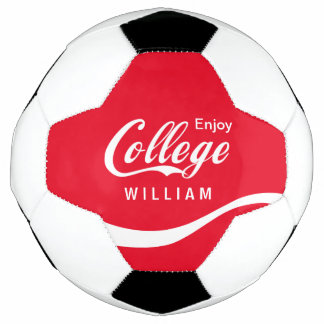 Enjoy College Life Funny Typography Design Soccer Ball