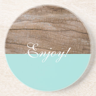 Enjoy! Cute Light Blue + Wood Effect Coaster