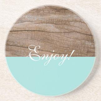 Enjoy! Cute Light Blue + Wood Effect Coaster