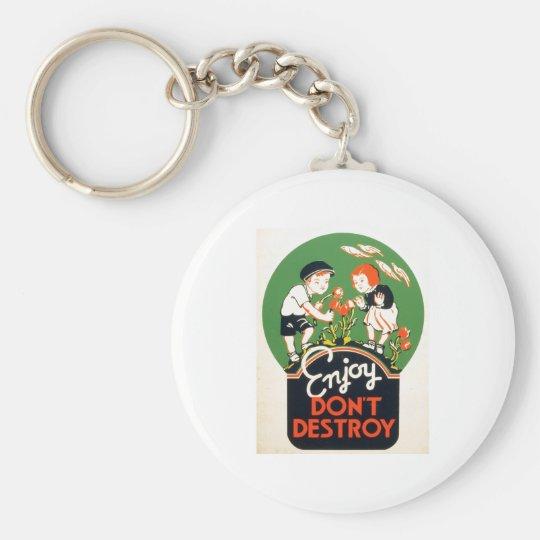 Enjoy Don't Destroy - Go Green Earth! 1937 Keychain