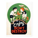 Enjoy Don't Destroy - Go Green Earth! 1937 Post Card