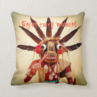 """""""Enjoy Every Moment"""" Quote Funny Cute Face Photo Throw Pillow"""