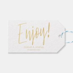"""Enjoy"" Gold Calligraphy Wedding Favor Tag"