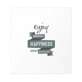 Enjoy homemade happiness, now gluten free notepad