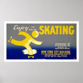 Enjoy Ice Roller Skating 1938 WPA Poster