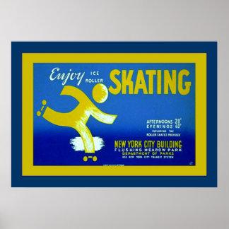 Enjoy Ice Roller Skating ~ Vintage Advertising Print