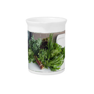 ENJOY LEAFY GREEN VEGETABLES HEALTHY CHOICES PITCHER