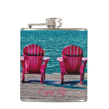 Beach Themed Enjoy Life At The Cottage Flask