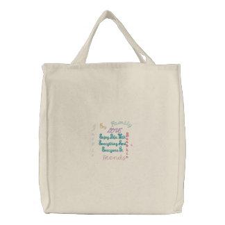Enjoy Life inspirational Embroidered Tote Bag