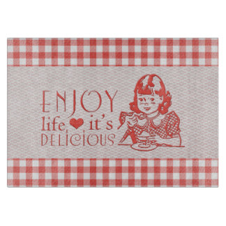 Enjoy Life It's Delicious Red Retro Gingham Cutting Board