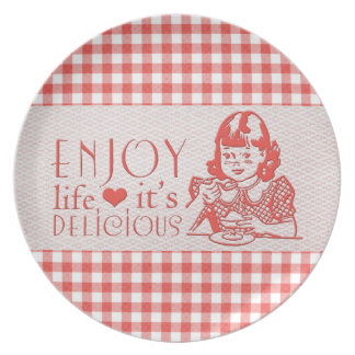 Enjoy Life It's Delicious Red Retro Gingham Melamine Plate
