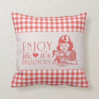 Enjoy Life It's Delicious Red Retro Gingham Throw Pillows
