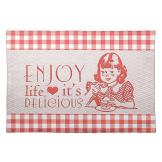 Enjoy Life It's Delicious Red Retro Gingham Placemat