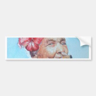 enjoy life  (lady with cigar and flower) bumper sticker