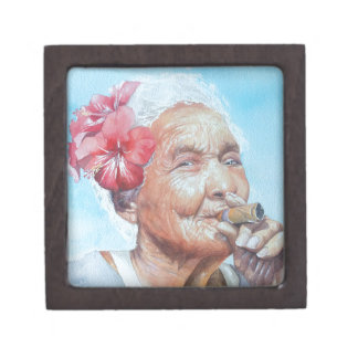enjoy life  (lady with cigar and flower) jewelry box
