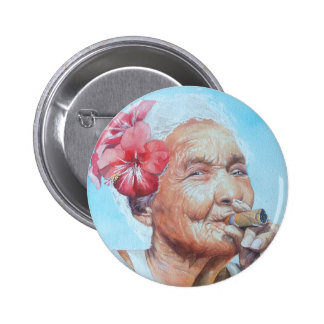 enjoy life  (lady with cigar and flower) pinback button