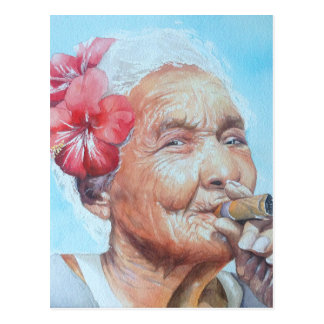 enjoy life  (lady with cigar and flower) postcard