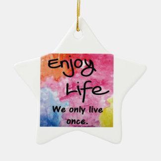 Enjoy life Double-Sided star ceramic christmas ornament