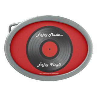Enjoy music Enjoy vinyl album record 70's 80's Oval Belt Buckle