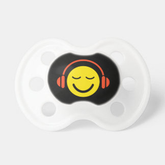 Enjoy music yellow DJ smiley face with headphones Pacifier