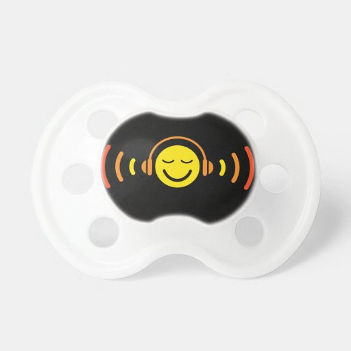 Enjoy music yellow DJ smiley face with headphones Pacifiers