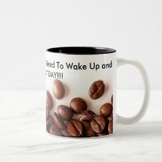 Enjoy My Day With Coffee Two-Tone Coffee Mug