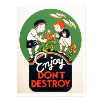 ¡Enjoy no destruye - va la tierra verde 1937 Postal