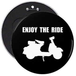 Enjoy Ride Moped 6 Inch Round Button