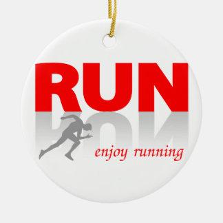 Enjoy running ceramic ornament