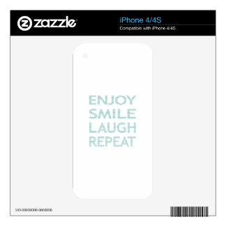 ENJOY SMILE LAUGH REPEAT - strips - blue and white iPhone 4 Decal