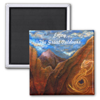 Enjoy The Great Outdoors 2 Inch Square Magnet