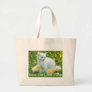 Enjoy The Little Things Cute Animals Large Tote Bag