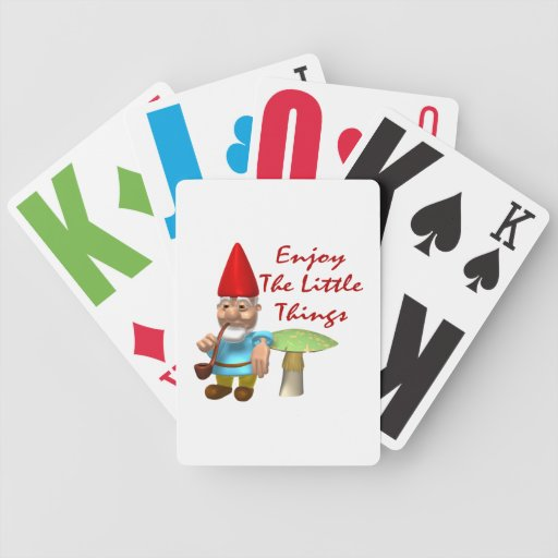 Enjoy The Little Things Gnome Bicycle Playing Cards