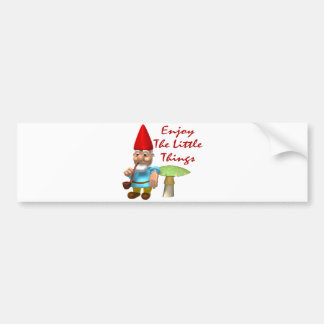 Enjoy The Little Things Gnome Car Bumper Sticker