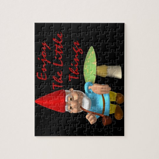 Enjoy The Little Things Gnome Jigsaw Puzzle