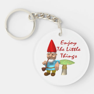 Enjoy The Little Things Gnome Keychain
