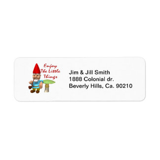 Enjoy The Little Things Gnome Return Address Label