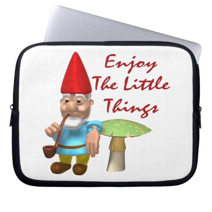 Enjoy The Little Things Gnome Laptop Computer Sleeve