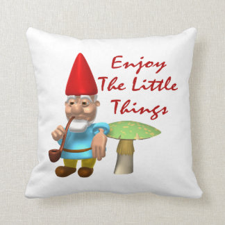 Enjoy The Little Things Gnome Throw Pillow